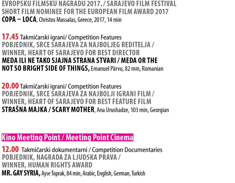 Daily Screenings Schedule - Day 8 | Sarajevo Film Festival